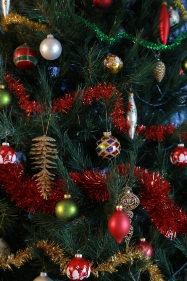 Closeup of Christmas tree with ornaments