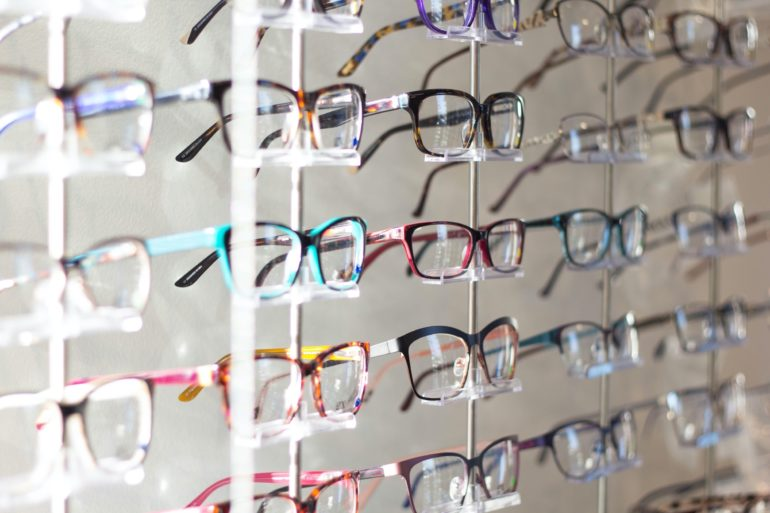 Wall of eyeglasses