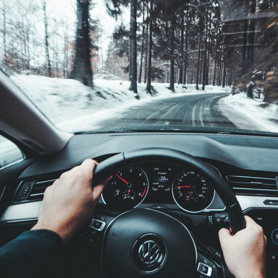 Driving on snowy road