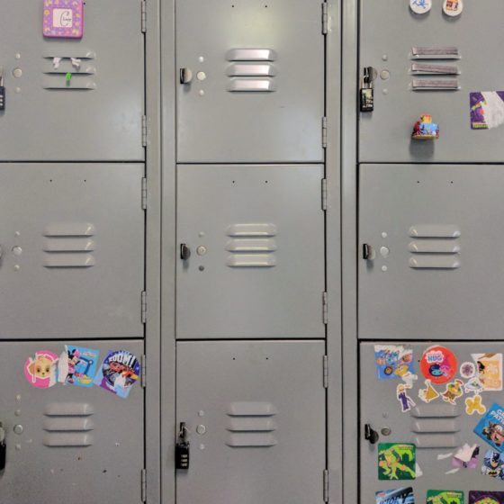 School lockers with stickers on them
